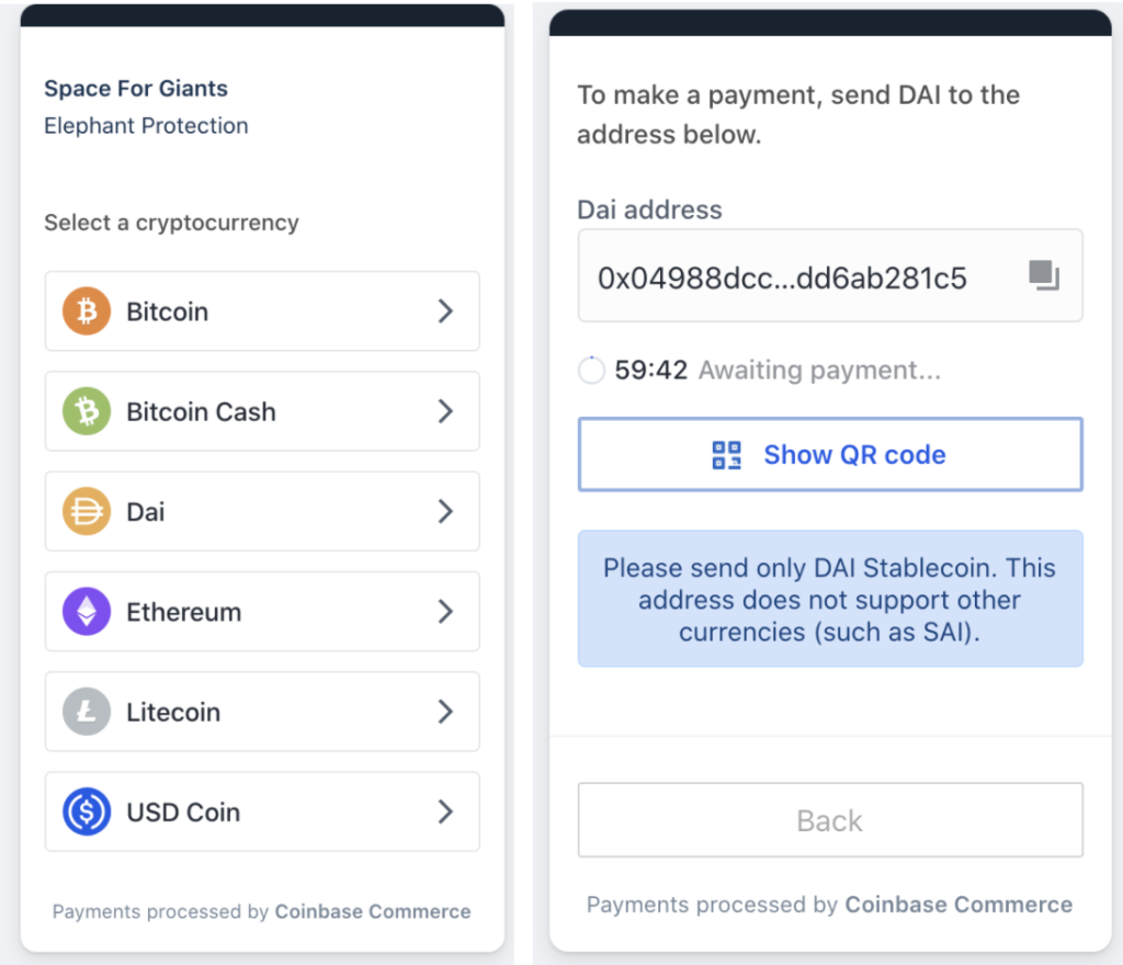 Coinbase Commerce enables its merchants to accept Dai and other cryptocurrency payments.